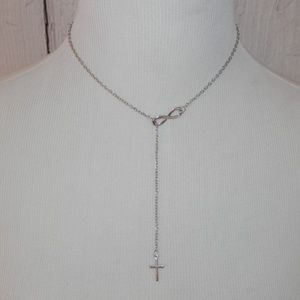Infinity & Cross Adjustable Length Silver Necklace